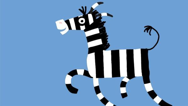 Das schwarz-weiß gestreifte Zebra hüpft unbeschwert herum. | Rechte: KiKA/SWR/Studio FILM BILDER/Julia Ocker