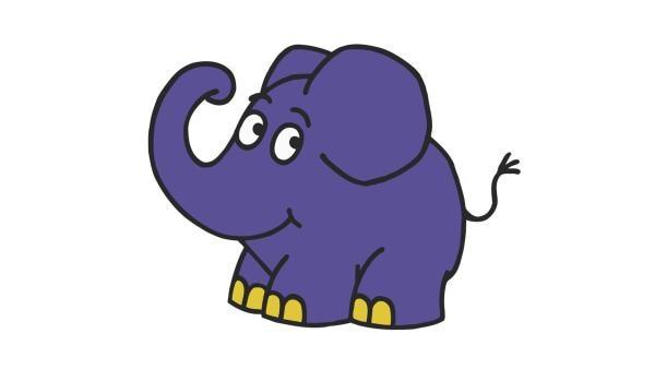 Fröhlich stapfend und unbekümmert trompetend leitet der kleine, blaue Elefant durch seine Sendung. | Rechte: WDR