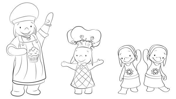 Ausmalbild Ella, Ellas Mutter, Ida und Ada | Rechte: KiKA/TVOKids/FremantleMedia Kids & Family Entertainment/DHX Cookie Jar Inc.