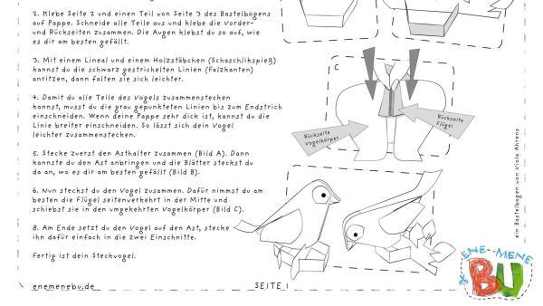 Die Bastelvorlage zum Herunterladen und Ausdrucken für einen Vogel zum Basteln aus Papier. | Rechte: KiKA
