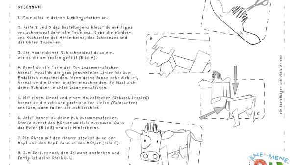 Die Bastelvorlage zum Herunterladen und Ausdrucken für eine Kuh zum Basteln aus Papier.   Rechte: KiKA