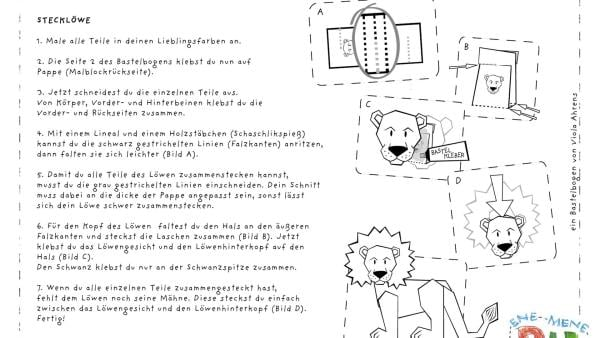 Die Bastelvorlage zum Herunterladen und Ausdrucken für einen Löwe zum Basteln aus Papier. | Rechte: KiKA