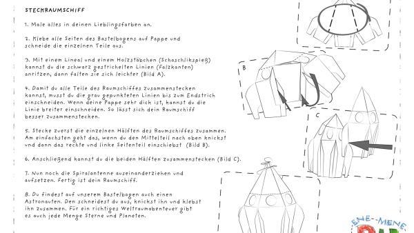 Die Bastelvorlage zum Herunterladen und Ausdrucken für ein Raumschiff zum Basteln aus Papier. | Rechte: KiKA