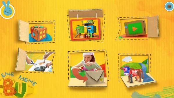 """Startseite von """"ENE MENE BU"""" auf kikaninchen.de mit Videos, Spielen, der Steckwelt, Aufrufen, der Kreativwerkstatt und dem Museum.   Rechte: KiKA"""