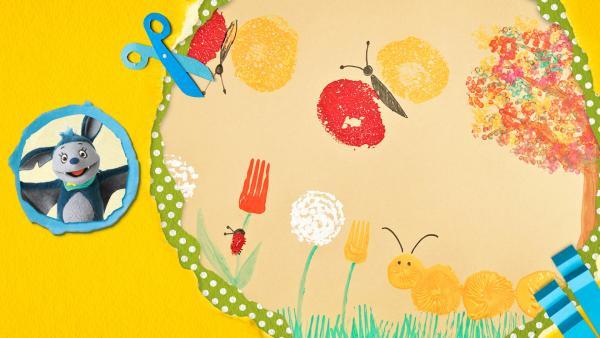 buntes Frühlingsbild mit Tulpen, Pusteblumen, Schmetterlingen, einem Marienkäfer, einem Baum und einer Raupe stempeln | Rechte: KiKA