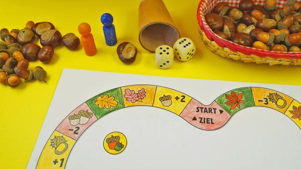 Spiele mit Kastanien und Eicheln und bastle dir ein herbstliches Brettspiel! | Rechte: KiKA