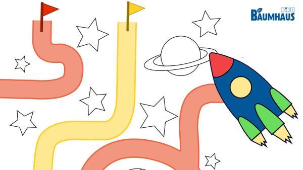 Flieg mit der Rakete an Sternen und Planeten vorbei durch das Weltall und folge dem roten oder gelben Weg. | Rechte: KiKA