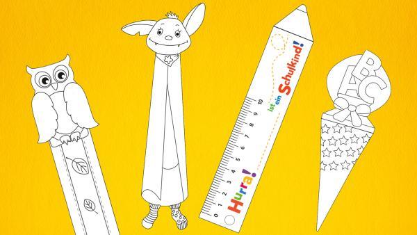 In der Bastelvorlage findest du tolle Lesezeichen. Zum Beispiel Bubu, Fidi, eine Zuckertüte und einen Stift mit Lineal.  | Rechte: KiKA