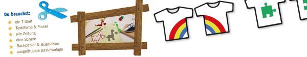 In der Bastelvorlage findest du tolle Motive, mit denen du ein T-Shirt für deinen besten Freund gestalten kannst. Zum Beipspiel zwei Dinos, Rakete und Sterne, Puzzleteile und einen Regenbogen.    Rechte: KiKA