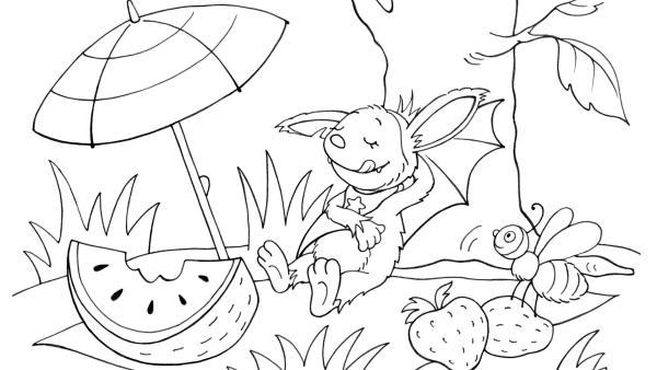 Fidi liegt auf einer Picknickdecke. Davor liegt eine angebissene Melone. Eine Biene sitzt neben Fidi auf Erdbeeren.  | Rechte: KiKA