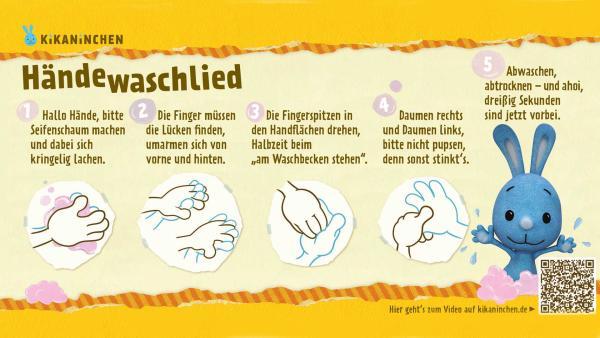 Eine Anleitung zum richtigen und gründlichen Händewaschen von KiKANiNCHEN. | Rechte: KiKA
