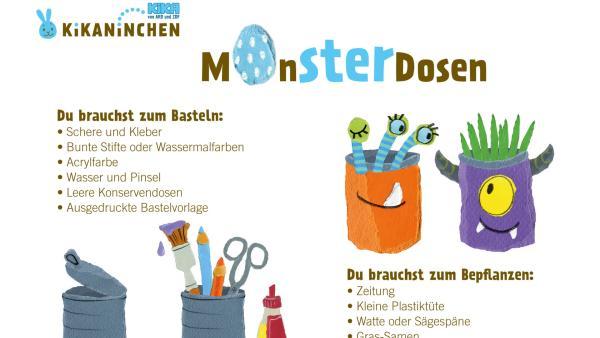 Bastelbogen von einer Monsterdose mit Grashaaren, mit einer Schritt-für-Schritt-Anleitung zum Selberbasteln. | Rechte: KiKA
