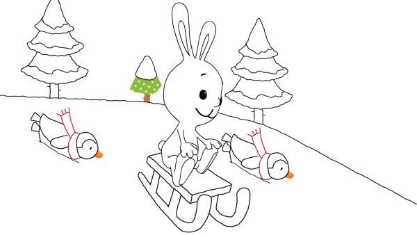 Kikaninchen fährt mit dem Schlitten | Rechte: KiKA