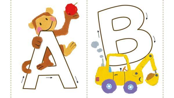 Die Bastelanleitung zum Ausdrucken mit Buchstabenkarten von A bis Z, sowie Ä, Ö und Ü. | Rechte: KiKA