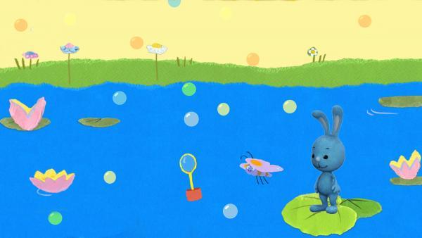 Fang die Schmetterline mit Seifenblasen! | Rechte: KiKA/Katrin Lahr