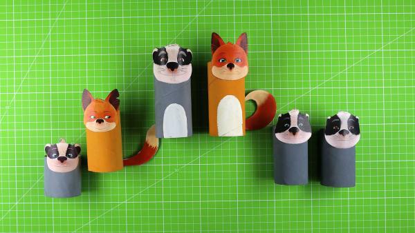 Fuchs und Dachs aus Papprollen | Rechte: KiKA/WDR/Mediatoon