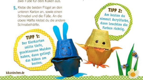 Bastelanleitung für ein Osterküken und ein Kaninchen aus Eierkarton. | Rechte: KiKA