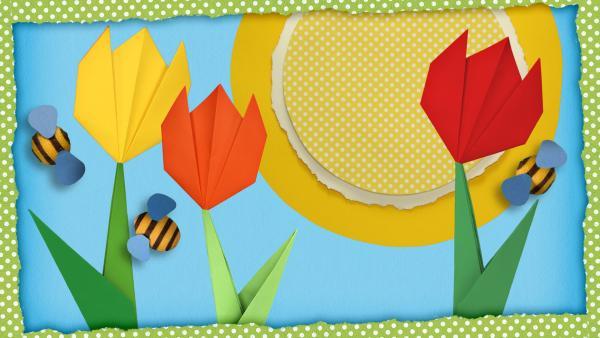 Schnipselgras mit Blüten und Marienkäfern | Rechte: KiKA