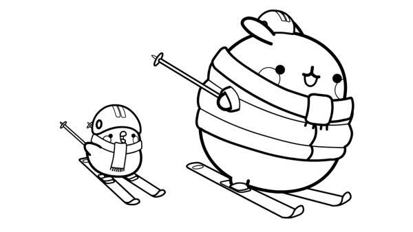 Molang und Piu Piu fahren Ski | Rechte: KiKA