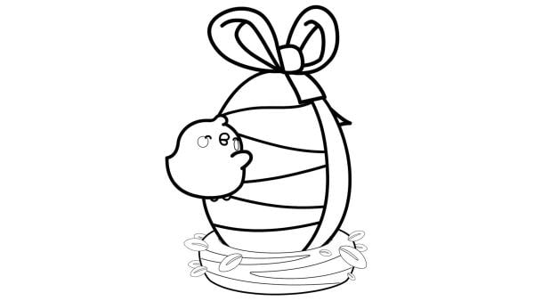 Piu Piu freut sich über ein riesiges Osterei, welches in einem Nest steht und eine Schleife umgebunden bekommen hat. | Rechte: KiKA/ Hayanori/ Millimages