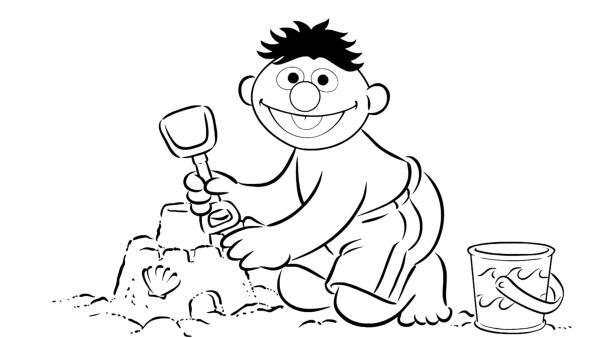 Ernie baut eine Sandburg | Rechte: Sesame Workshop