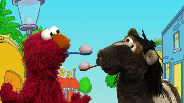 Elmo und Pferd spielen Sportpantomime. | Rechte: KiKA/ NDR/ SesameWorkshop