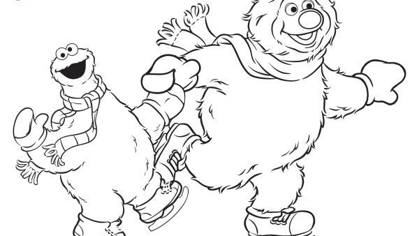 Krümelmonster und Samson fahren Schlittschuh