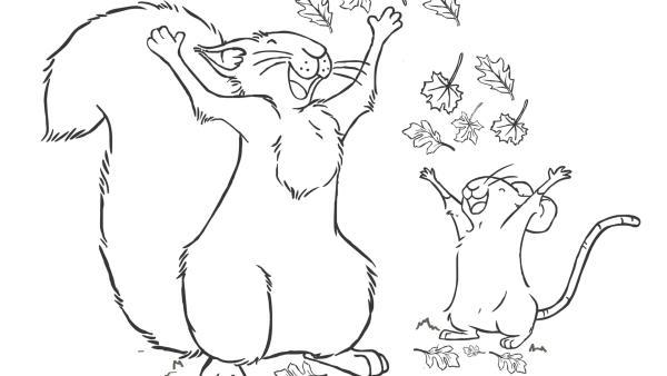 Grauhörnchen und Feldmaus spielen mit Herbstblättern | Rechte: SLR, SCRAWL, KiKA & HR