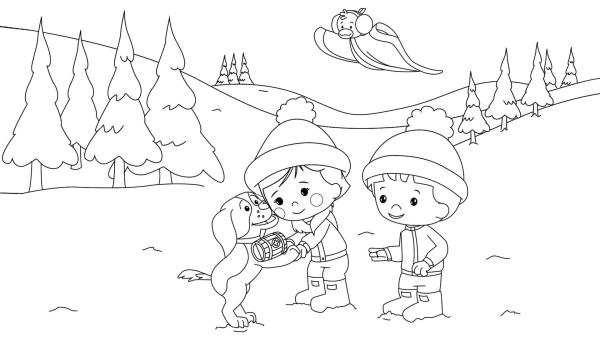 Zoé, Finn und QuackQuack im Schnee | Rechte: TM/Splash Entertainment/LLC/KiKA